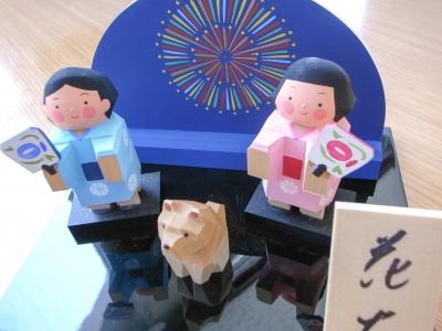 木彫り人形花火
