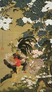 紫陽花双鶏図