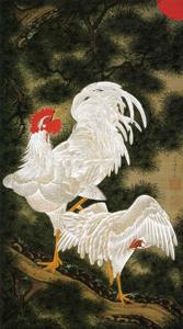 老松白鶏図