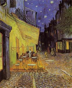 夜のカフェテラス
