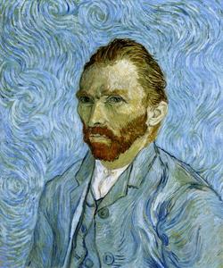 自画像(渦巻く青い背景の中の自画像)