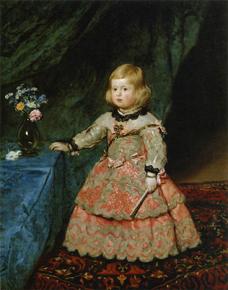 薔薇色の衣装のマルガリータ王女