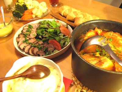 ブイヤベース 豚ヒレ肉の香草焼き エビときのこのマカロニグラタン 温野菜のアイオリソース添え