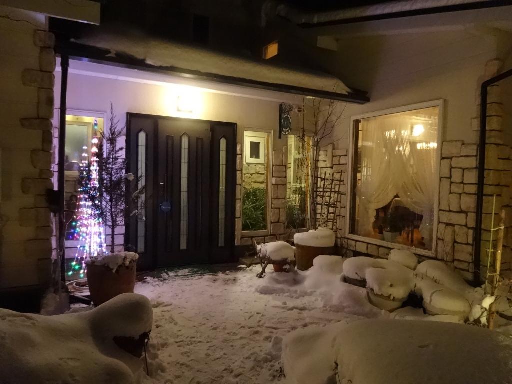 玄関も雪景色