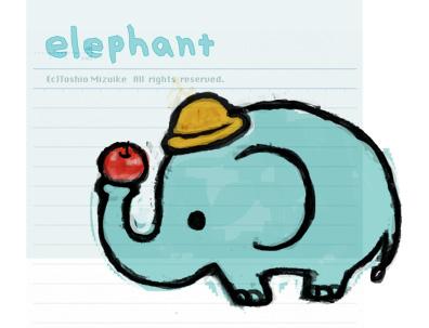 ゾウ 子象 かわいい イラスト