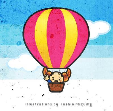 気球のイラスト 羽曳野 古墳群