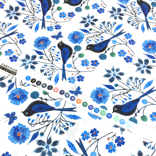 Cloud9 Fabrics Moody Blues 127900 Perched Birds