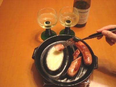 フランクフルトとチーズフォンデュ