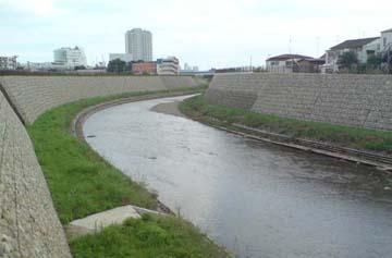 吉沢交差点付近の野川