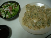 餃子&アボガドと生ハムのサラダ
