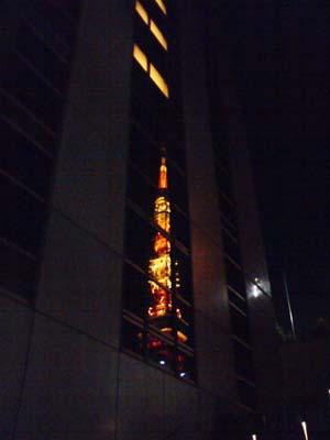 ビルに映った東京タワー