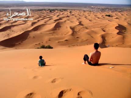 砂すべりする大人2人