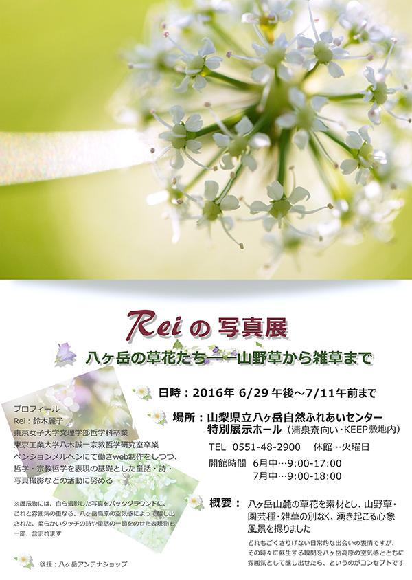 Reiの写真展 チラシ
