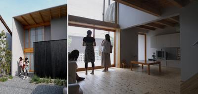 岡山の設計事務所 焼杉塀