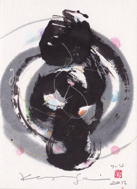 7月4日の直観アート:色とりどりの光が溶け込んでやがては大きなながれになっていきます。