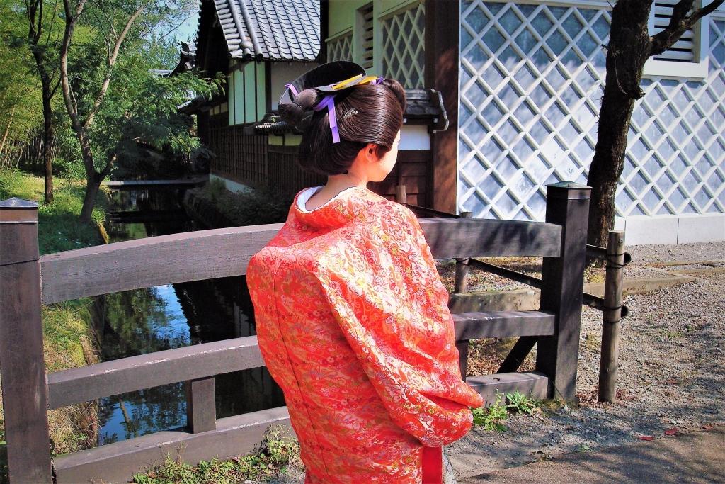 日光江戸村で大奥、髪型は片はずし