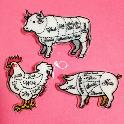 牛豚鶏部位ブローチ