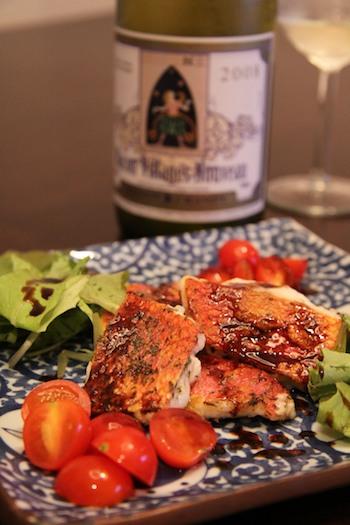白身魚をバルサミコソースでサラダ仕立てに。