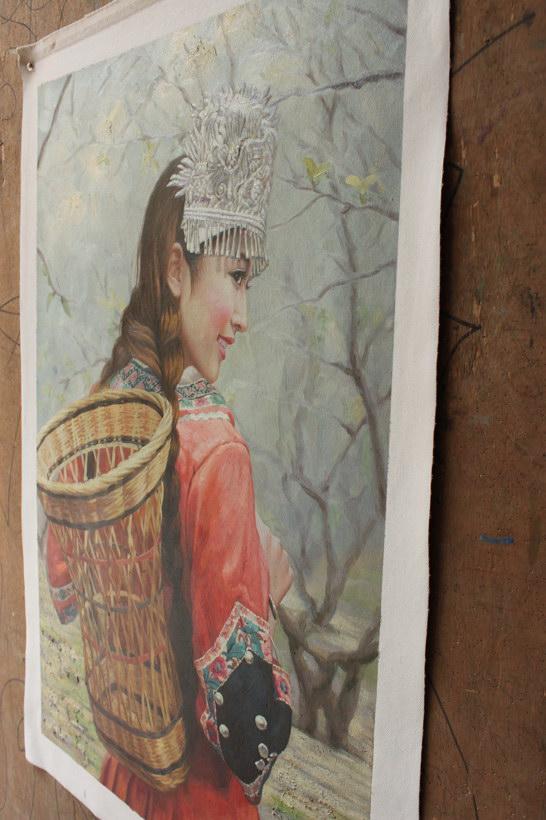 肉笔油彩画ミャオ族美女 雅虎拍卖 yahoo代拍