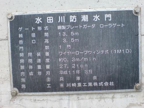 水田川防潮水門表示