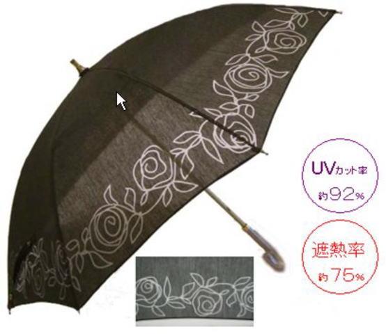Masa 遮熱UVカットパラソル バラ柄オパール 47cm