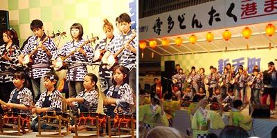 新天町演舞台にて。新天町の商店の子ども達が三弦太鼓を上手に操ります