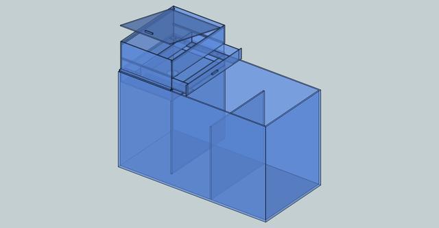 引き出し式ウールボックスの設計図面 濾過槽との組み合わせ