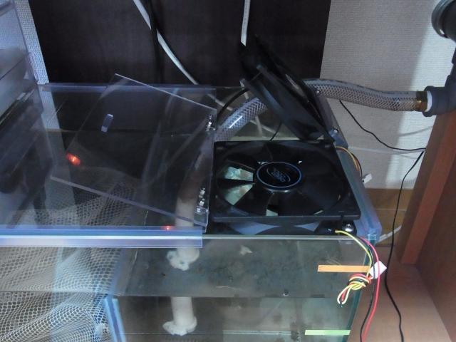 冷却ファンを濾過槽に設置