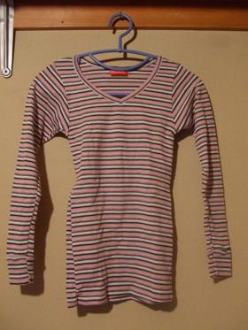 everwarm Vネックシャツ(縞)