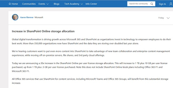 Increase in SharePoint Online storage allocation