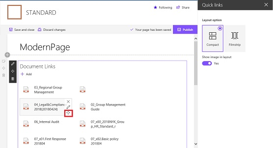 SharePoint Online Modern UI Quick links Drag Drop
