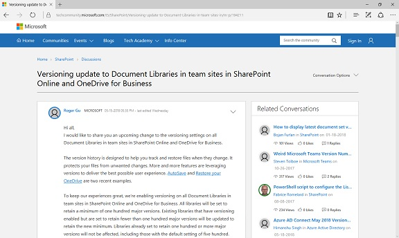 SharePoint Versioning Update Min 100 Version
