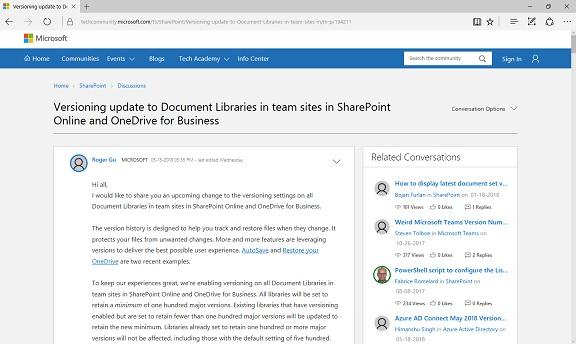 SharePoint Versioning Update Min 100 Version