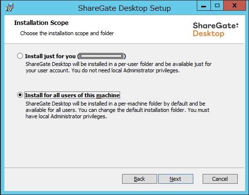 Sharegate install 3