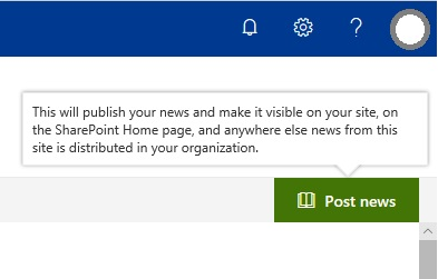 SharePoint SitePage Post News Button english