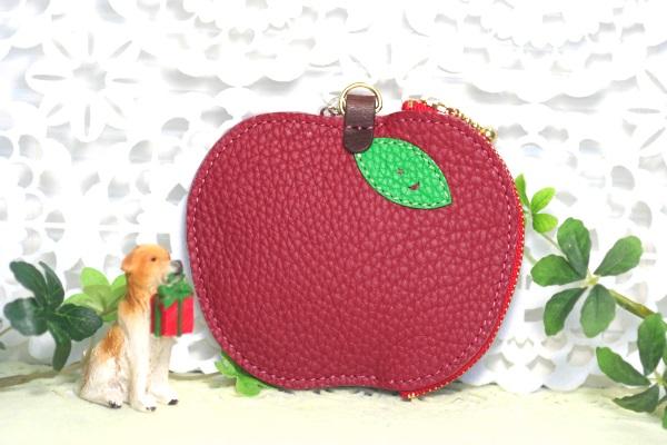 リンゴ型ポーチ なないろレザークラフト