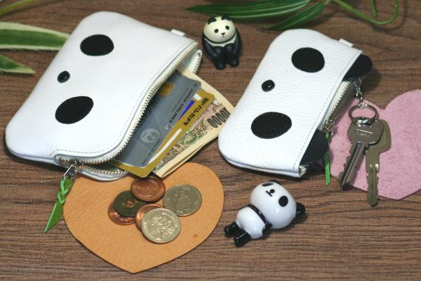 パンダ財布 パンダキーケース なないろレザークラフト
