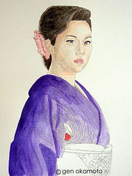 米倉涼子 水彩画