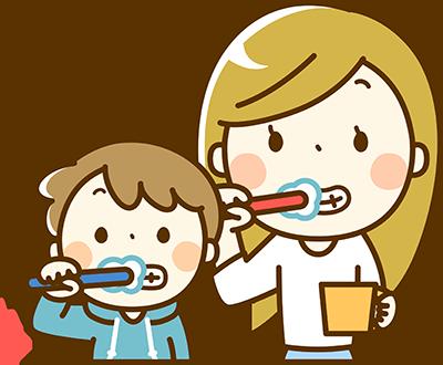 親子で歯ブラシ