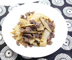 牛肉とごぼうと蒟蒻の煮物