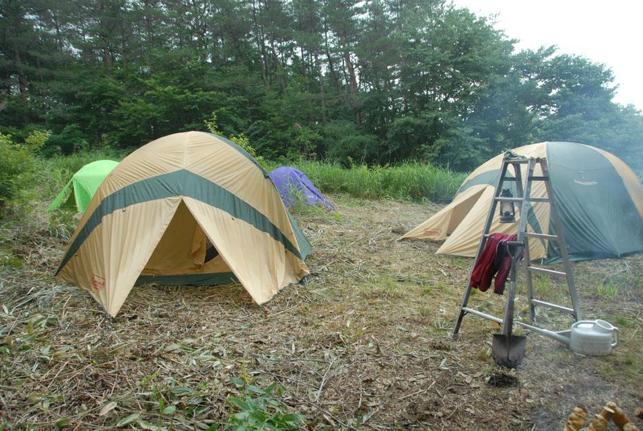 テントを張りました。