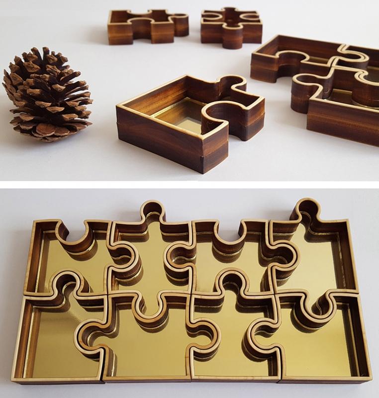 ジグソーパズル型の木製小物入れ