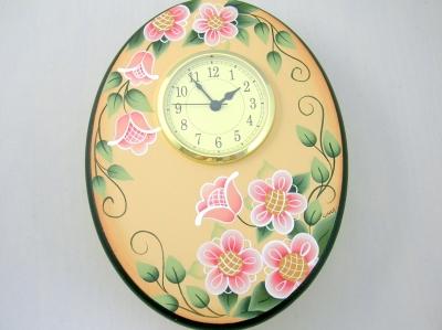 トールペイント完成品の楕円形の掛け時計