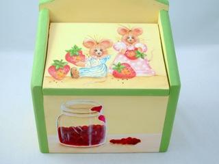 ネズミと苺のレシピボックス・小物入れ