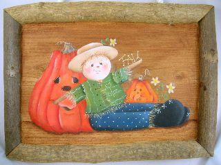 案山子とかぼちゃのハロウィンプレート