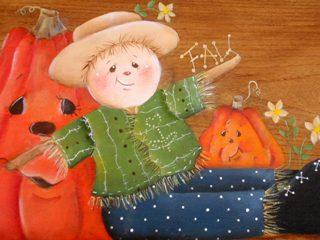 アップのハロウィンの案山子とかぼちゃ