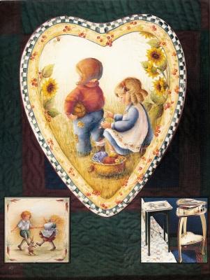 ヘレン・バリックMDAがテーブルに描いた子供たちの情景2作品