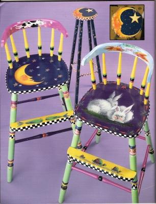 ヘレン・バリックMDAが椅子に描いた動物を☆と月の絵
