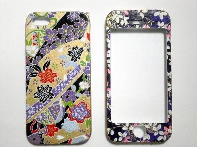 和柄のiPhone5・5Sケース桜と毬文様と南天文様