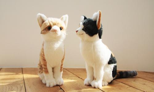 愛猫のぬいぐるみ 三毛とトラ猫